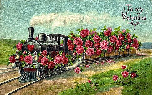 Ånglok med rosor